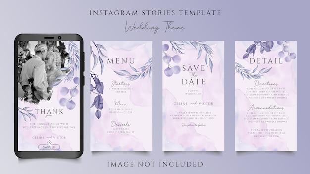 Piękny ślub zaproszenia instagram historie szablon z roślinnym motywem