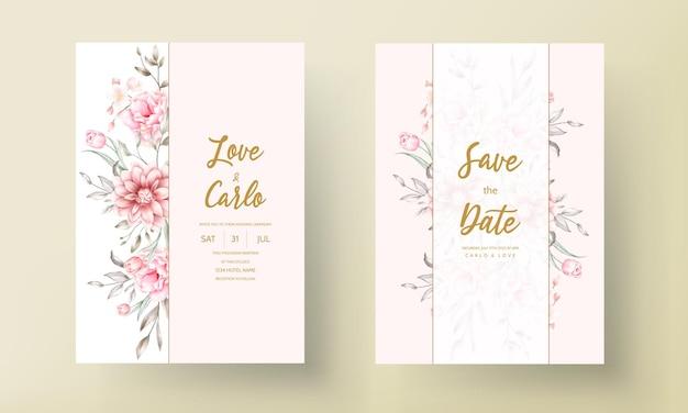 Piękny ślub zaproszenia karty kwiatowy ornament
