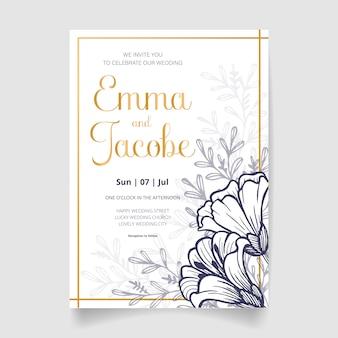 Piękny ślub zaproszenia karty z kwiatami, liśćmi i gałęzi. szczęśliwego zaproszenia na ślub. idealny na ślub i szczęśliwe małżeństwo!