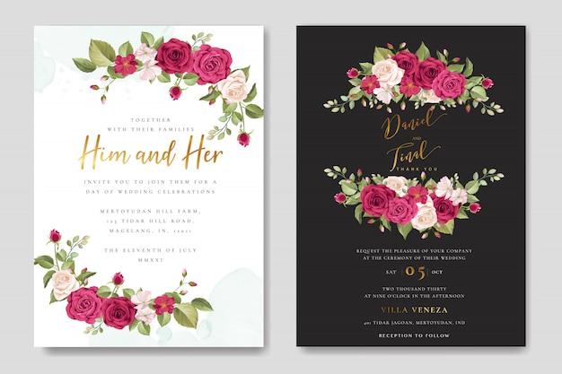Piękny ślub zaproszenia karty z kwiatów i liści wieniec