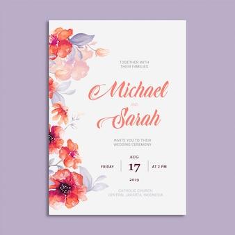 Piękny ślub zaproszenia karty z ramą kwiatowy