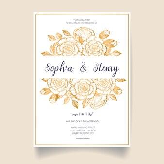Piękny ślub zaproszenia karty ze złotymi kwiatami, liśćmi i gałęzi. szczęśliwego zaproszenia na ślub. idealny na ślub i szczęśliwe małżeństwo!
