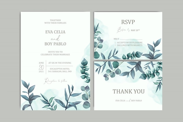 Piękny ślub zaproszenia szablonu karty z akwarela tle kwiatów