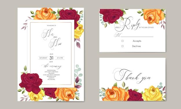 Piękny ślub zaproszenia szablonu karty z liści kwiatowy