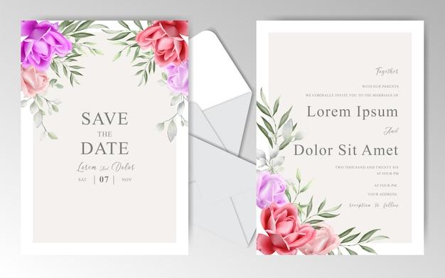 Piękny ślub zaproszenia szablonu projektu karty z akwarela układ kwiatowy