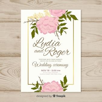 Piękny ślub zaproszenie szablon z róż
