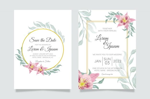 Piękny ślub zaproszenie zestaw czerwona róża białe kwiaty anemonu
