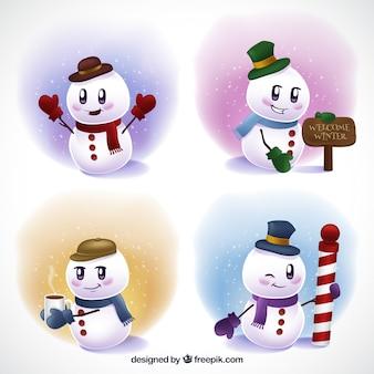 Piękny snowman z kapelusz i szalik