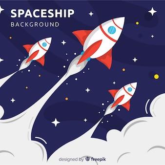 Piękny statek kosmiczny tło z płaskim projektem
