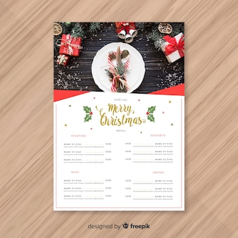 Piękny świąteczny projekt menu
