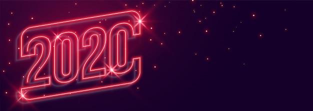 Piękny świecący transparent nowy rok 2020 w stylu neonowym