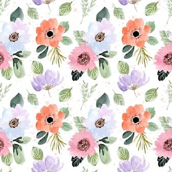 Piękny świeży kwiat akwarela bezszwowe wzór