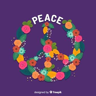 Piękny symbol pokoju w stylu kwiatowym