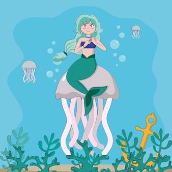 Piękny syrenki dopłynięcie przy morzem z jellyfish wektorowym ilustracyjnym graficznym projektem