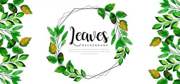 Piękny szablon akwarela liści