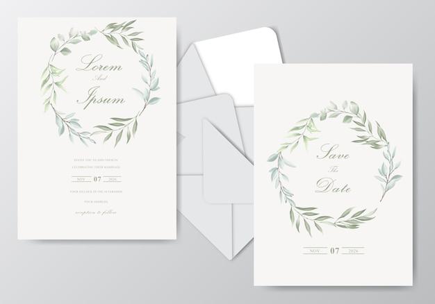 Piękny szablon karty ślub akwarela z liści