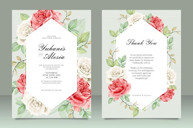 Piękny szablon karty ślub akwarela