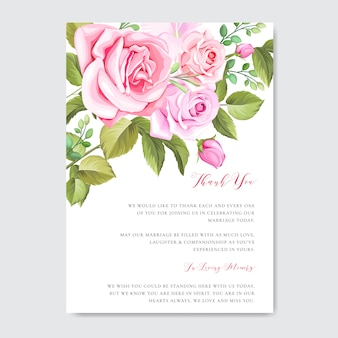 Piękny szablon karty ślub i zaproszenie z kwiatów i liści ramki
