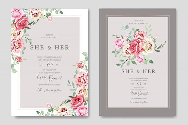 Piękny szablon karty ślub z pięknymi kwiatami i liśćmi