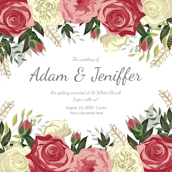 Piękny szablon karty ślub z ramą kwiatowy