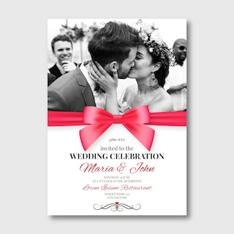 Piękny szablon karty ślub ze zdjęciem