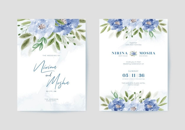 Piękny szablon karty ślubnej z kwiecistą akwarelą