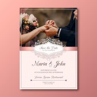 Piękny szablon karty ślubu ze zdjęciem