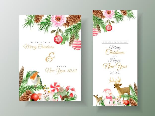 Piękny szablon karty z akwarelą kwiatowy i świąteczny ornament