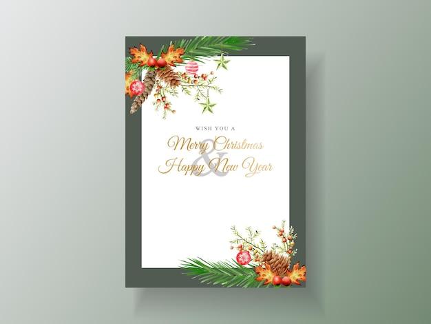 Piękny szablon karty z kwiatowym i świątecznym ornamentem