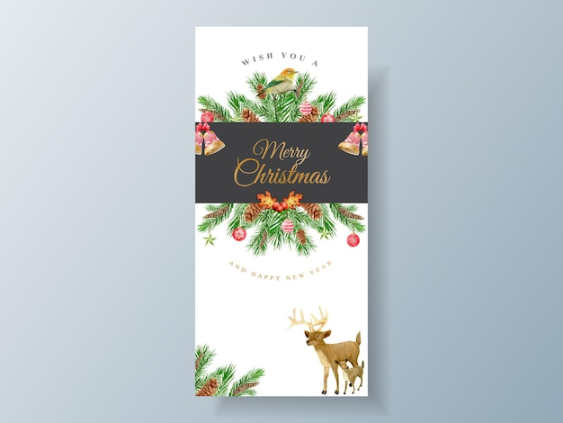 Piękny szablon karty z kwiatowymi i świątecznymi ornamentami