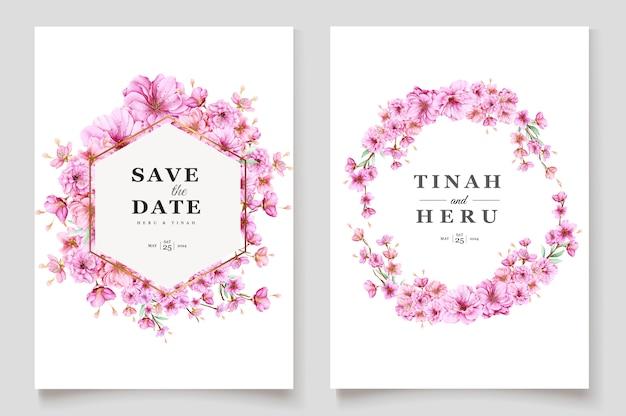 Piękny szablon karty zaproszenie kwiat wiśni