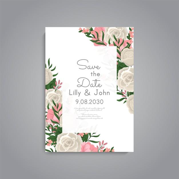 Piękny szablon karty zaproszenie na ślub