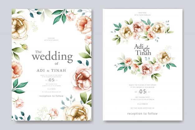 Piękny szablon kwiatowy wesele akwarela karty