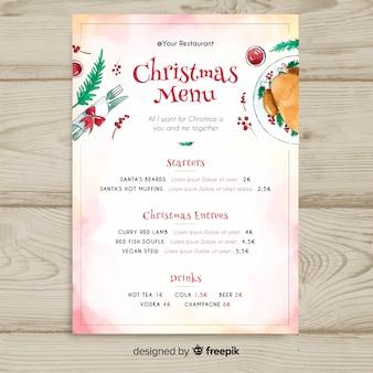 Piękny szablon menu świąteczne akwarela