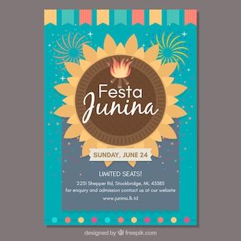 Piękny szablon okładka kreatywnych festa junina
