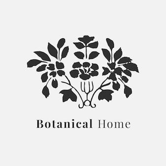 Piękny szablon wektor logo liścia do botanicznego brandingu w kolorze czarnym