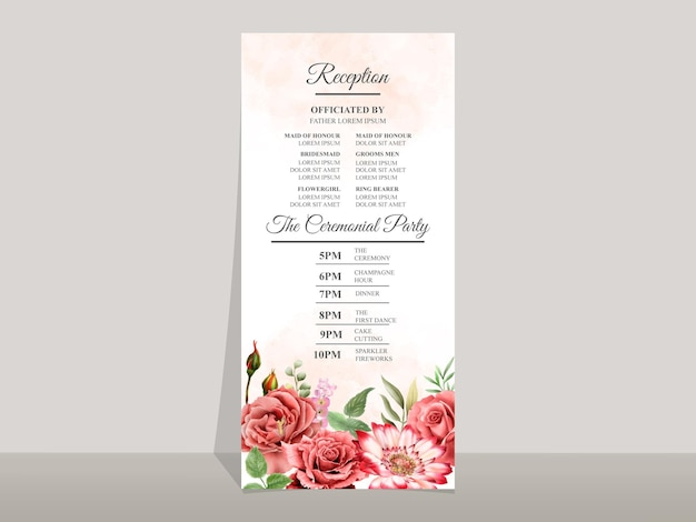 Piękny szablon zaproszenia na ślub z czerwoną różą