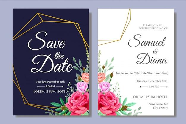 Piękny szablon zaproszenia ślubne akwarela