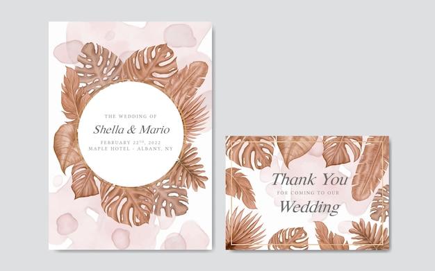 Piękny szablon zaproszenia ślubne kwiatowy akwarela