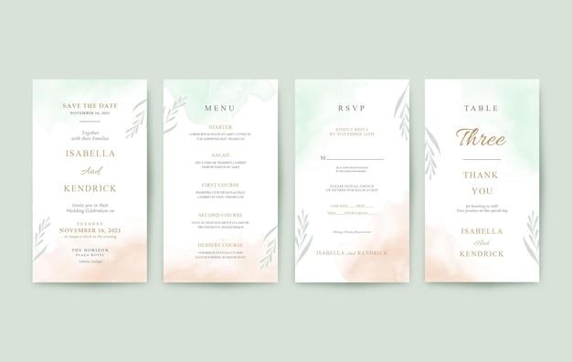 Piękny szablon zaproszenia ślubne pionowe