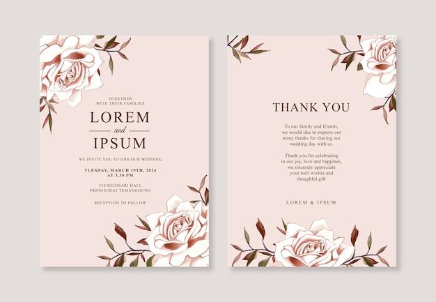 Piękny szablon zaproszenia ślubne z kwiatem akwarela