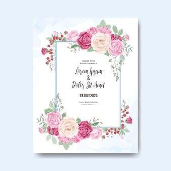Piękny szablon zaproszenia ślubne z kwiatów i liści