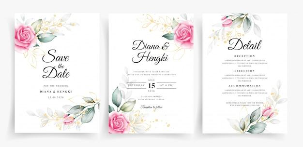 Piękny szablon zaproszenia ślubne z kwiatową dekoracją akwarela rumieniec