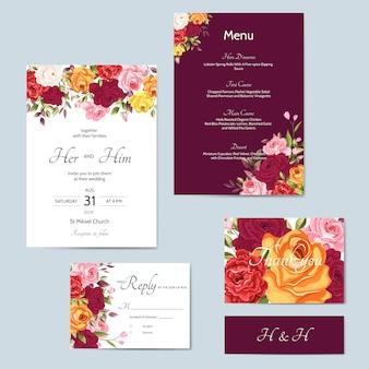 Piękny szablon zaproszenia ślubne z liści kwiatowy