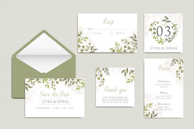 Piękny szablon zaproszenia ślubne z liści zestaw pakiet