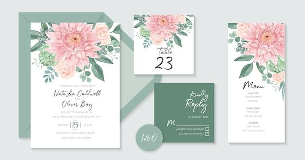 Piękny szablon zaproszenia ślubne z piękną akwarelą dahlia
