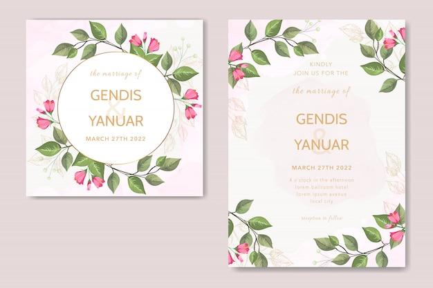 Piękny szablon zaproszenia ślubne z zielonych liści