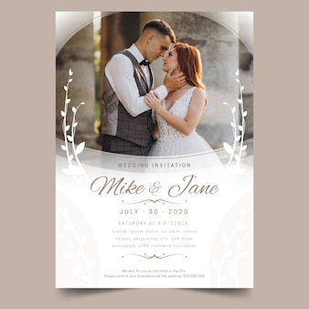 Piękny szablon zaproszenia ślubne ze zdjęciem