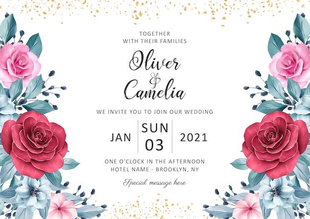 Piękny szablon zaproszenia ślubne zestaw z akwarela dekoracje kwiatowe i złoty brokat
