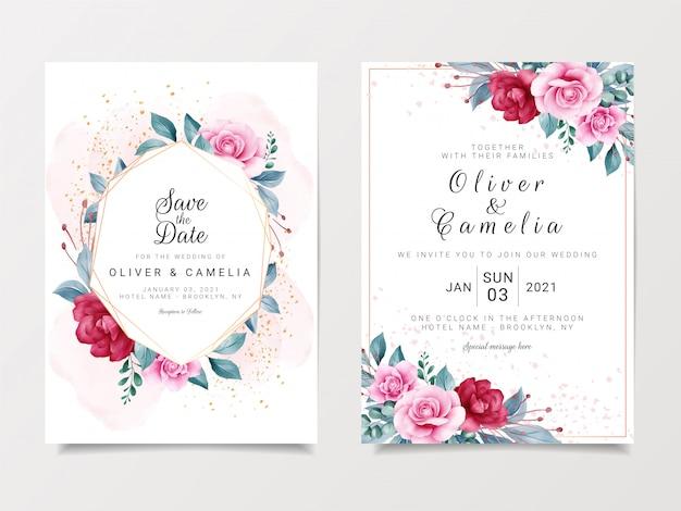 Piękny szablon zaproszenia ślubne zestaw z geometryczną ramą kwiatowy i złoty brokat